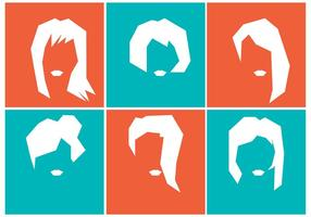 Silhouette of Girls Hairstyles vetor
