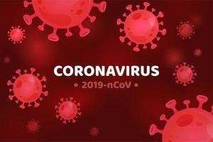 fundo molecular de coronavírus vermelho vetor
