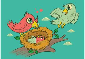 Bird in Nest Family vetor