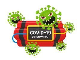 coronavírus covid-19 com design de dinamite vetor