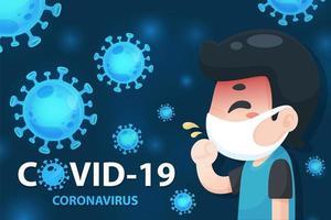 cartaz covid-19 com homem doente dos desenhos animados vetor