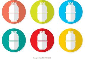 Ícones coloridos do vetor do cilindro de gás