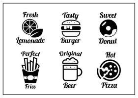 Coleção de ícones vetoriais de alimentos