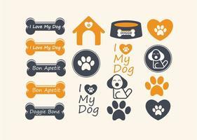 Elementos bonitos do vetor do cão