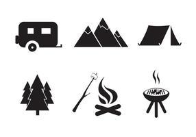 Conjunto de ícones de camping Free Vector