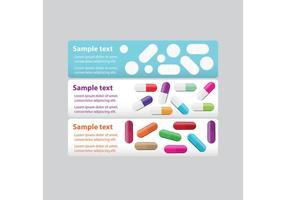 Banners de pílulas brancas