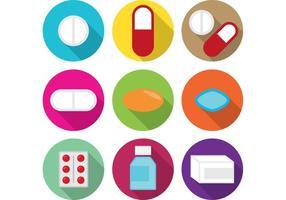 Comprimidos brancos e medicina vetor