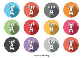 Conjunto de ícones da torre do telefone redondo vetor