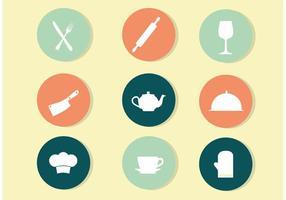 Vetores do ícone da cozinha do círculo