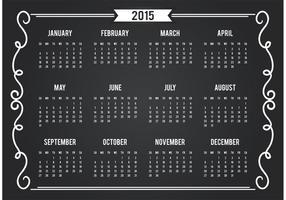 Cartão calendário 2015 do quadro-negro vetor