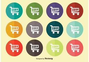 Conjunto de ícones do carrinho de compras plano vetor