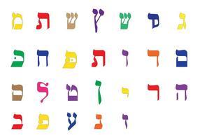 Alphabet Hebraico do vetor brilhante