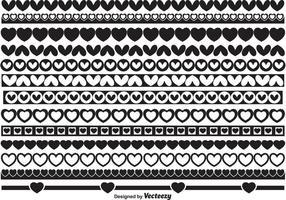 Formas da borda do coração vetor