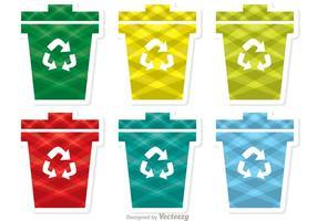 Pacote de vetores coloridos com ícones de lixo com padrões