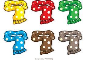 Pacote de vetores colorido com cachecol de desenhos animados
