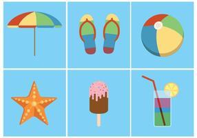 Ícones brilhantes de vetores de verão