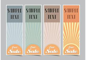 Banners Vertical Retro Sunburst Vector