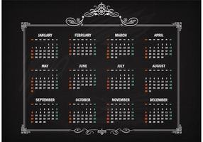 Calendário retro do vetor livre 2015 no quadro-negro