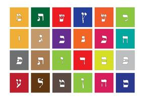 Alfabeto hebraico em vetor