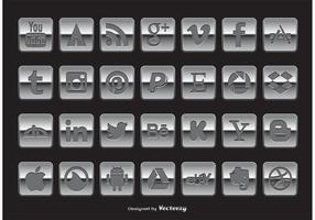 Conjunto de ícones de mídia social de estilo do Chrome vetor