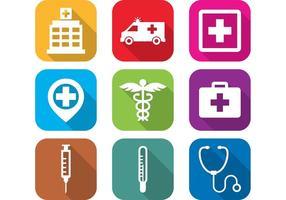 Ícones do hospital plano vetor
