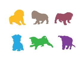 Silhuetas coloridas do vetor do filhote de cachorro