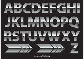Alfabeto em cromo / metal vetor