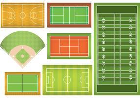 Campos de esportes e tribunais vetor