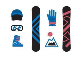 Ícones de Snowboard isolados vetor
