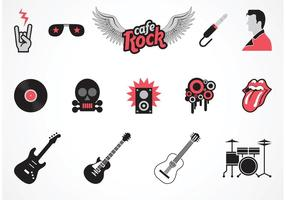 Símbolos gratuitos da música rock do vetor