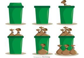 Pacote de vetores de sacos de lixo e lixo