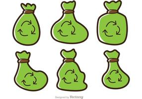 Pacote simples de vetores de saco de lixo de desenhos animados