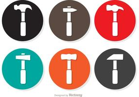 Pacote de vetores simples Circle Hammer Icons