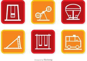 Pacote vetorial de ícones quadrados de playground vetor