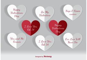 Corações de papel do dia dos namorados vetor