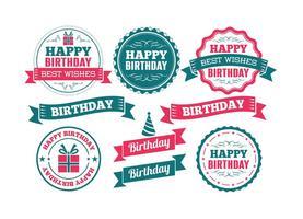 Badges de feliz aniversario vetor