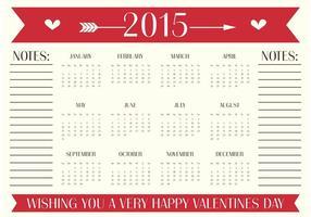 Cartão do calendário do dia dos namorados vetor