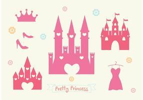 Conjunto de vetores do castelo da princesa rosa
