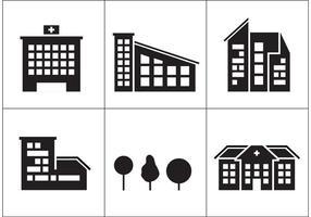 Ícones do edifício do hospital vetor