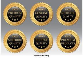 Emblemas de qualidade de ouro vetor