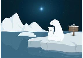 Ursos polares livres no vetor do pólo norte