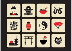 Conjunto de ícones de vetores chineses grátis