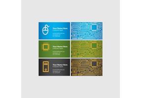 Cartões de visitas de chip de computador vetor