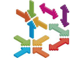 Setas isométricas vetor