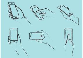 Smarphones de mão livre desenhados a mão vetor