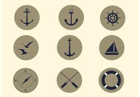 Conjunto de ícones náuticos de vetores gratuitos