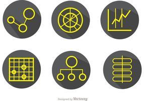 Pacote de vetores de ícones de contornos simples de dados grandes
