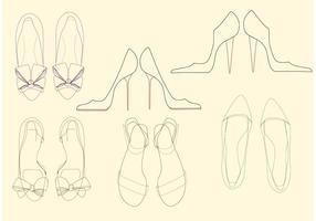 Vetores de sapatos femininos esboçados