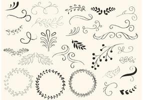 Redemoinhos desenhados à mão e vetores de grinaldas