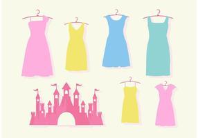 Castelo de princesa rosa e conjunto de vetores de vestidos